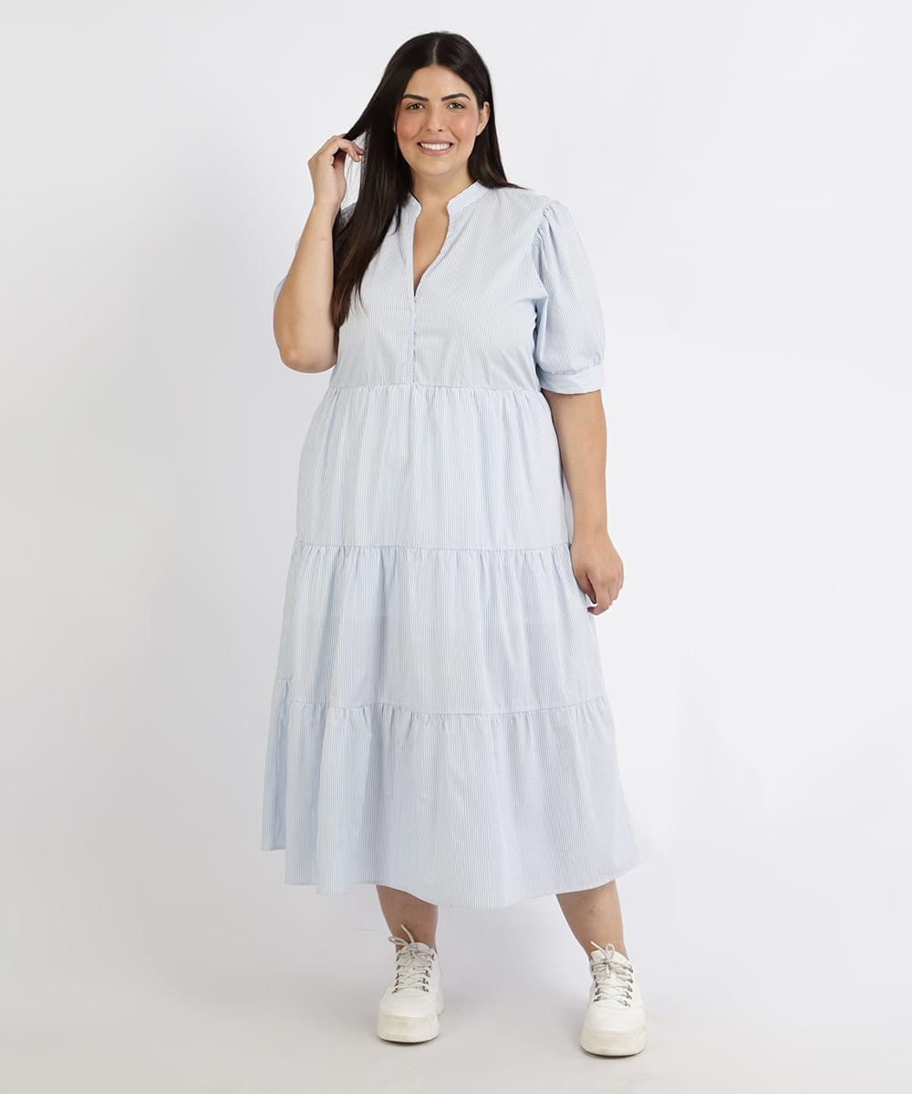 Vestido Feminino Plus Size Mindset Midi Estampado Listrado Manga Curta Azul