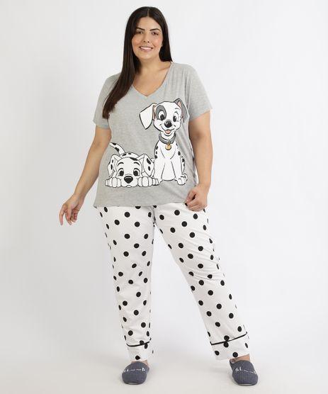 Pijama-Feminino-Plus-Size-101-Dalmatas-Estampado-de-Poa-Manga-Curta-Cinza-Mescla-9961130-Cinza_Mescla_1