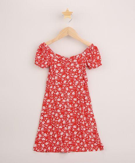 Vestido-Infantil-Midi-Estampado-Floral-Manga-Curta-Vermelho-9962683-Vermelho_1