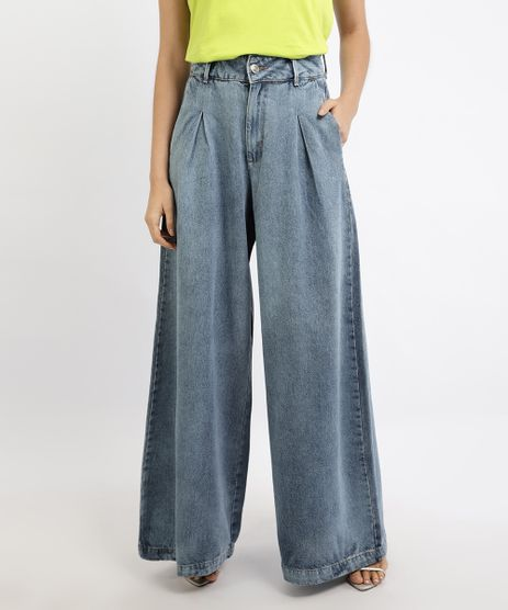Calca-Jeans-Feminina-Mindset-Pantalona-Cintura-Super-Alta-com-Pregas-Azul-Claro-9950464-Azul_Claro_1