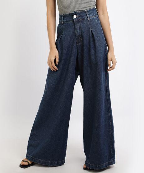Calca-Jeans-Feminina-Mindset-Pantalona-Cintura-Super-Alta-com-Pregas-Azul-Escuro-9950464-Azul_Escuro_1