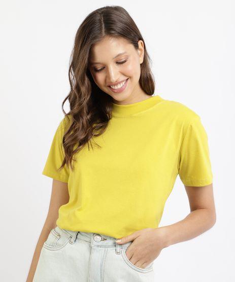 T-Shirt-Feminina-Mindset-Basica-Manga-Curta-Decote-Redondo-Amarela-9394894-Amarelo_1_1