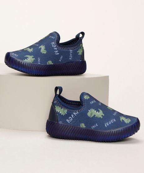 Tenis-Infantil-Knit-Estampado-de-Dinossauros-com-Luz-Azul-Marinho-9962730-Azul_Marinho_1