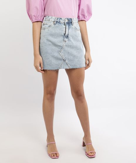 Saia-Jeans-Feminina-Mindset-Curta-Marmorizada-com-Barra-a-Fio-Azul-Claro-9963099-Azul_Claro_1