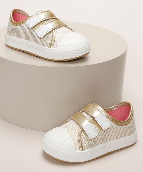 Tenis-Infantil-Pimpolho-Estampado-de-Listras-com-Brilho-Recorte-e-Tiras-com-Velcro-Dourado-9966079-Dourado_1