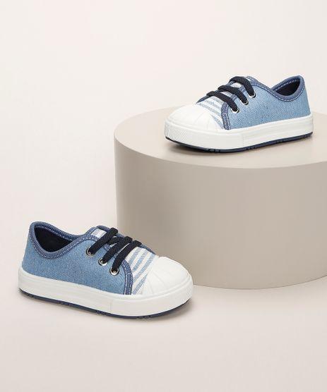 Tenis-Infantil-Pimpolho-Estampado-de-Listras-com-Recorte-e-Cadarco-Azul-9966082-Azul_1