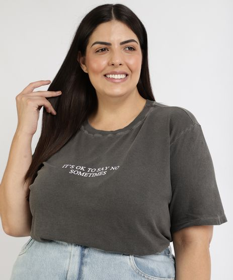 T-Shirt-Feminina-Mindset-Plus-Size--It-s-Ok--Manga-Curta-Decote-Redondo-Chumbo-9967298-Chumbo_1
