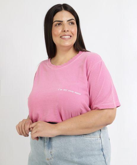 T-Shirt-Feminina-Mindset-Plus-Size--My-Own-Muse--Manga-Curta-Decote-Redondo-Rosa-9967302-Rosa_1