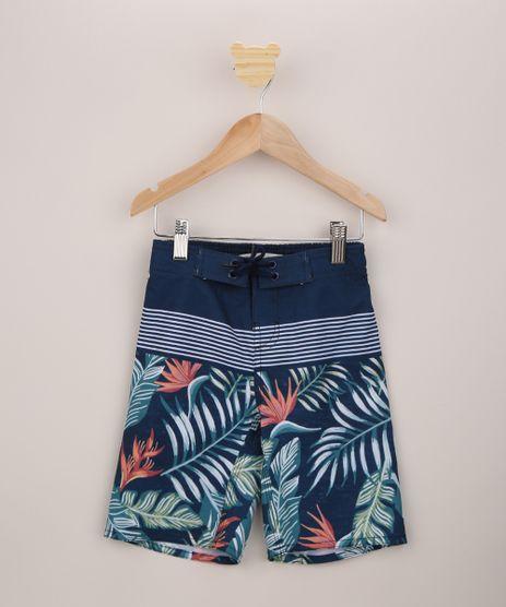 Bermuda-Surf-Infantil-Estampada-de-Folhagens-com-Cordao-Azul-Marinho-9954478-Azul_Marinho_1