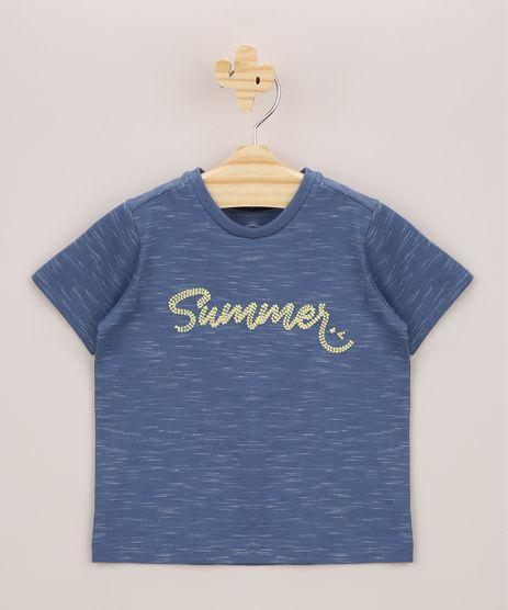 Camiseta-Infantil--Summer--Manga-Curta-Azul-9955060-Azul_1