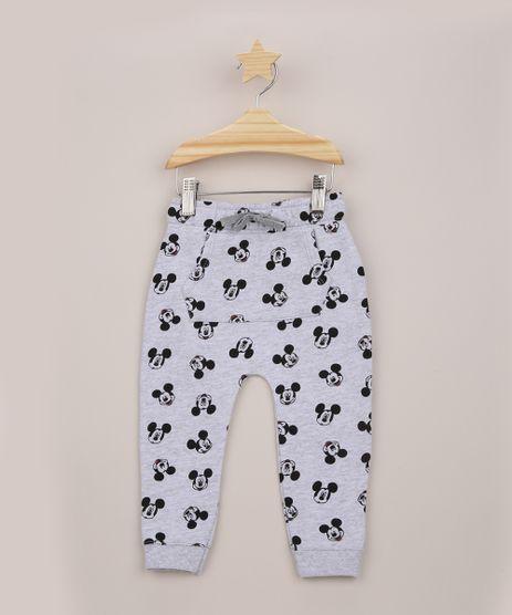 Calca-de-Moletom-Infantil-Mickey-Estampada-com-Bolso-Canguru-Cinza-Mescla-9956456-Cinza_Mescla_1
