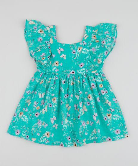 Vestido-Infantil-Estampado-Floral-Manga-Curta-com-Babados-Verde-Agua-9955032-Verde_Agua_1