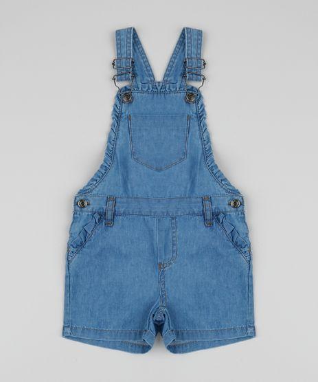 Jardineira-Jeans-Infantil-Estampada-Floral-com-Babados-Azul-Medio-9958584-Azul_Medio_1