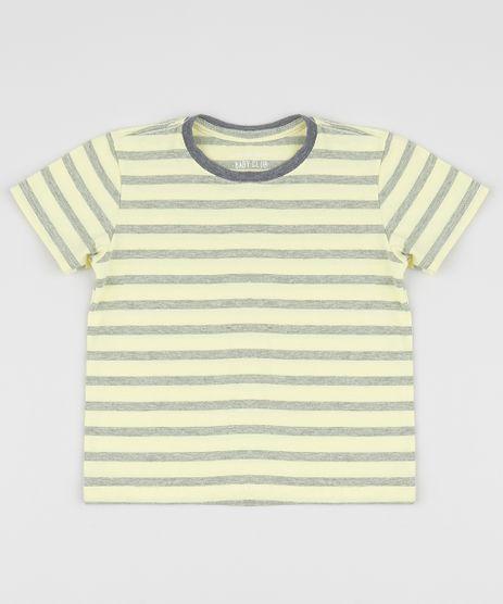 Camiseta-Infantil-Listrada-Manga-Curta-Gola-Careca-Amarela-9964279-Amarelo_1