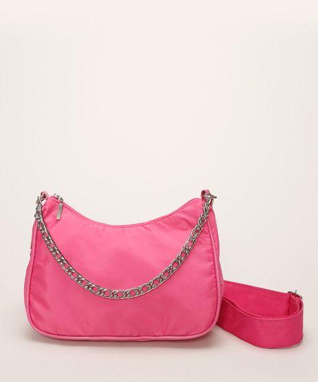 Bolsa-Feminina-Baguete-com-Corrente-e-Alca-Removivel-Pink-9964938-Pink_1