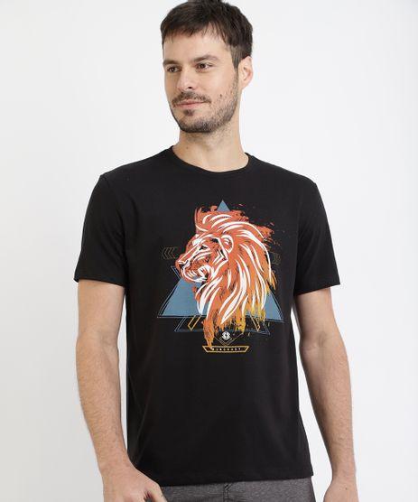 Camiseta-Masculina-Leao-Manga-Curta-Gola-Careca-Preta-9967856-Preto_1