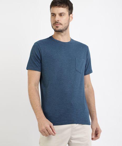Camiseta-Masculina-com-Bolso-Manga-Curta-Gola-Careca-Azul-9941514-Azul_1