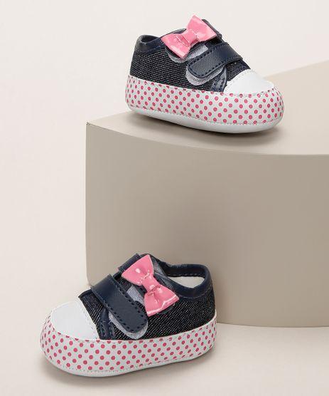 Tenis-Infantil-Pimpolho-Jeans-com-Laco-e-Estampa-de-Poa-Azul-Escuro-9966091-Azul_Escuro_1