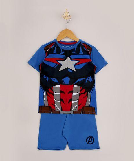Pijama-Infantil-Capitao-America-Manga-Curta-Azul-9956710-Azul_1