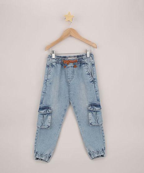 Calca-Jeans-Infantil-Jogger-Cargo-com-Cordao-Azul-Medio-9953876-Azul_Medio_1