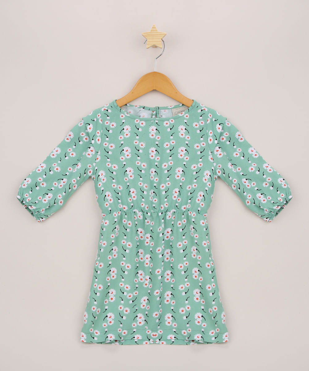 Vestido Infantil Tal Mãe Tal Filha Estampado Floral Manga Longa Verde Claro