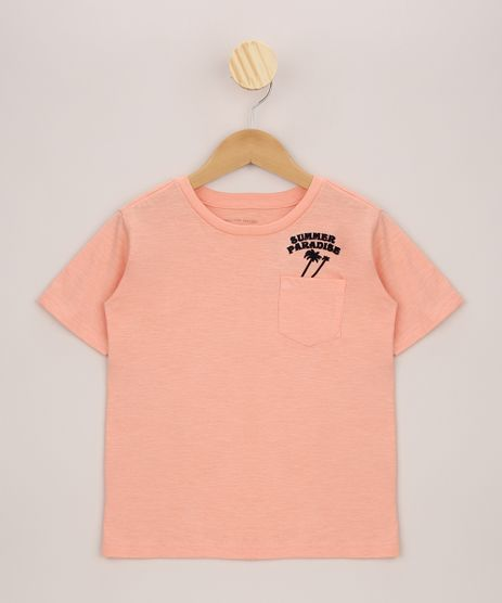 Camiseta-Infantil-com-Bolso-Manga-Curta-Coral-9963136-Coral_1