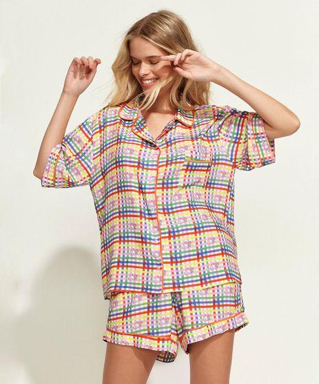 Conjunto-Feminino-Mindset-Obvious-de-Camisa-Estampada-Xadrez-Vichy-Manga-Curta---Short-Multicor-9969089-Multicor_1