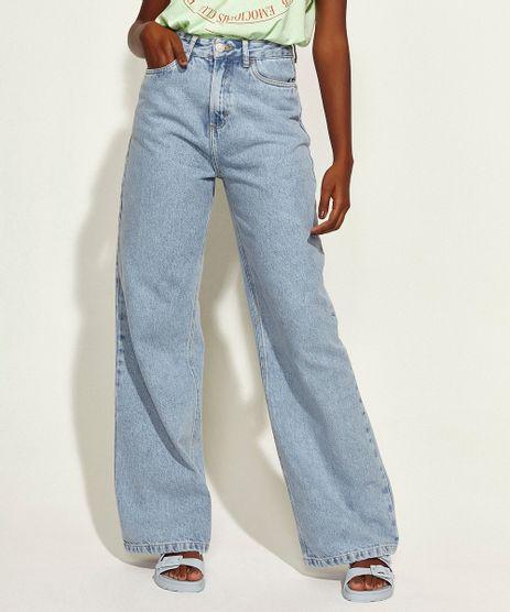 Calca-Jeans-Feminina-Mindset-Obvious-Wide-Reta-Cintura-Super-Alta-com-Bordado--Self-Love--Azul-Claro-9972969-Azul_Claro_1