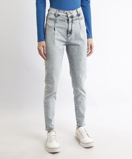 Calca-Jeans-Feminina-Sawary-Mom-Cintura-Super-Alta-com-Pregas-Azul-Claro-9968996-Azul_Claro_1