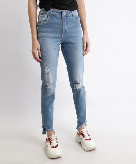 Calca-Jeans-Feminina-Sawary-Boyfriend-Cintura-Alta-com-Rasgos-e-Barra-Desfiada-Azul-Claro-9968999-Azul_Claro_1