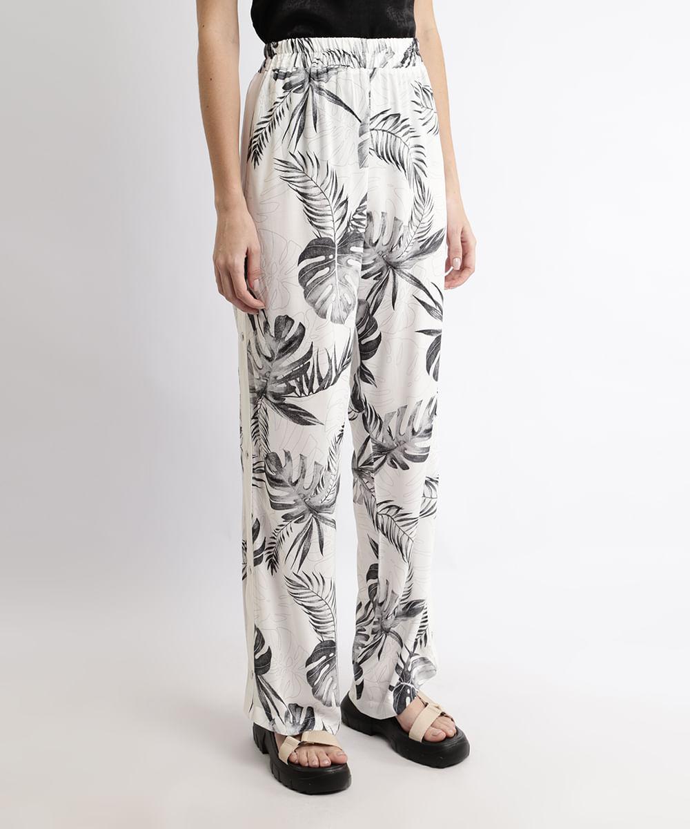 Calça Feminina Pantalona Cintura Alta Estampada de Folhagem com Fenda Off White
