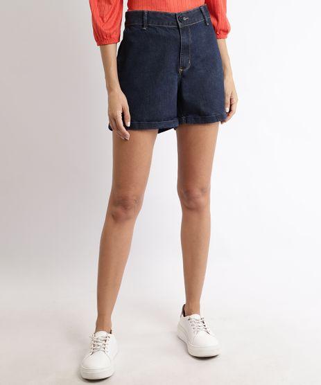 Short-Jeans-Feminino-Alfaiatado-Cintura-Super-Alta-com-Bolsos-Azul-Escuro-9944961-Azul_Escuro_1