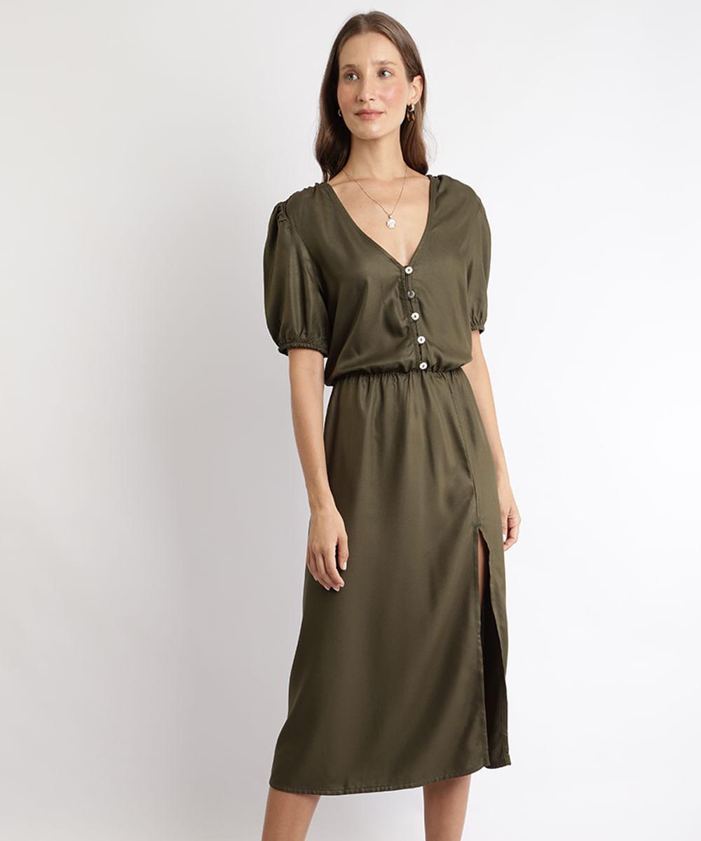 Vestido Feminino Midi com Fenda Manga Curta Bufante Decote V Verde Militar