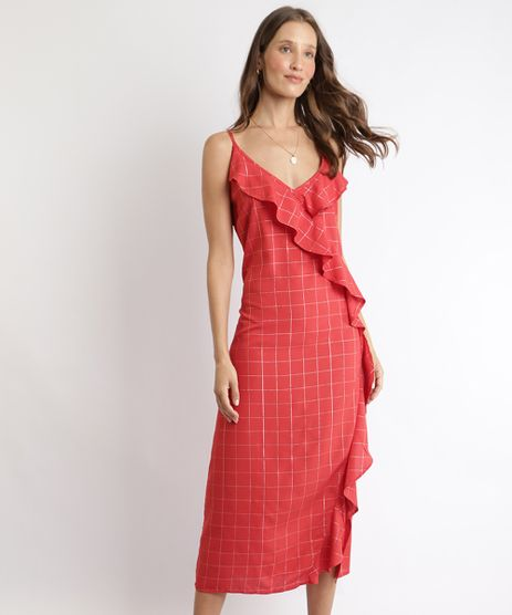 Vestido-Feminino-Midi-Estampado-Quadriculado-com-Babados-Alca-Fina-Decote-V-Vermelho-9960068-Vermelho_1