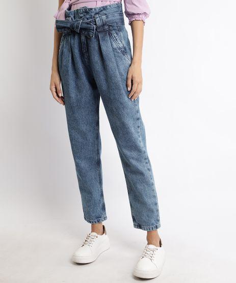 Calca-Jeans-Feminina-Cintura-Super-Alta-Clochard-com-Recorte-e-Bolsos-Azul-Medio-9960645-Azul_Medio_1