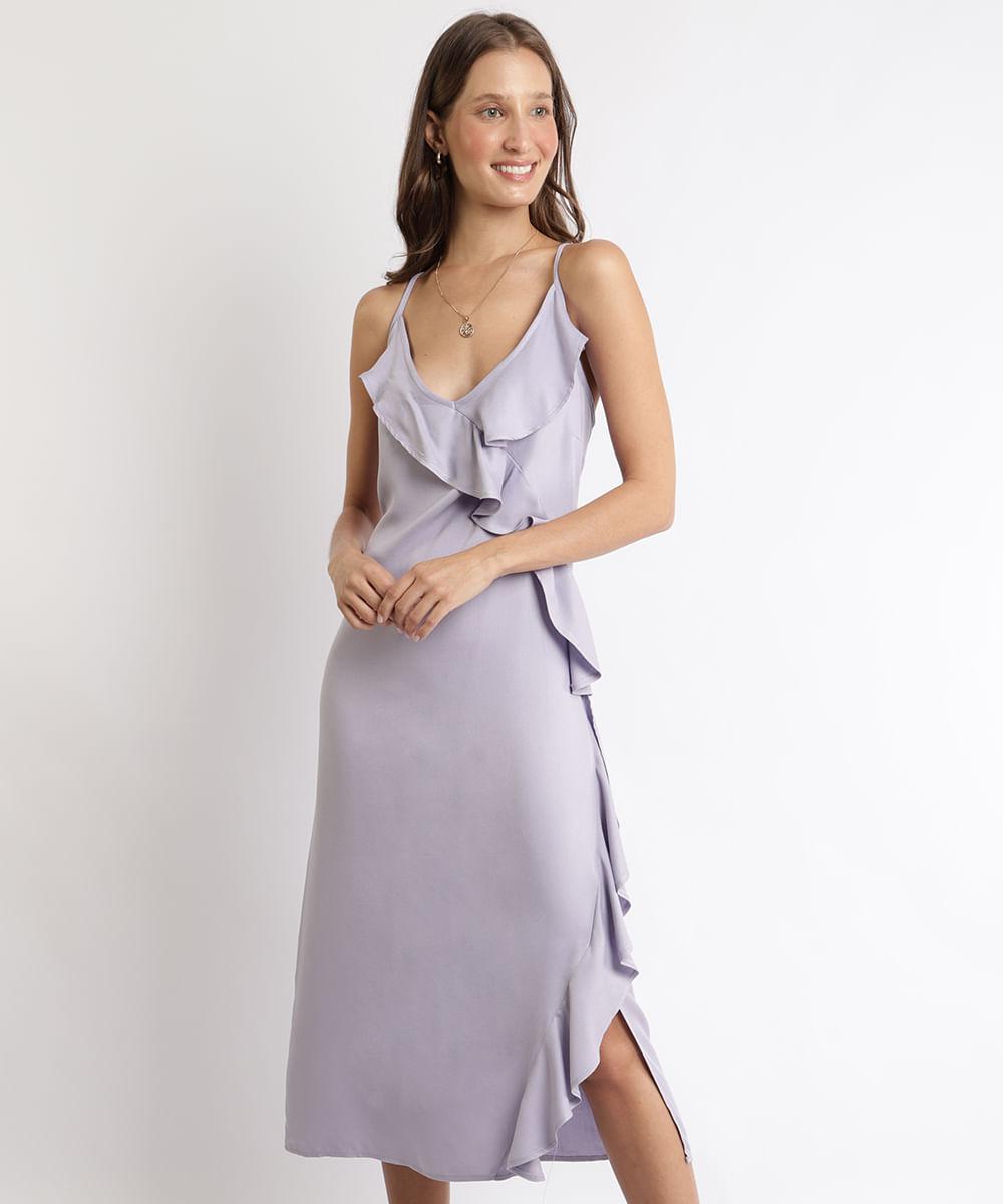 Vestido Feminino Midi com Babados Alça Fina Decote V Lilás