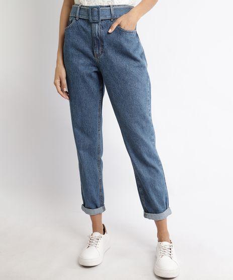 Calca-Jeans-Feminina-Mom-Cintura-Super-Alta-com-Cinto-Azul-Medio-9963956-Azul_Medio_1