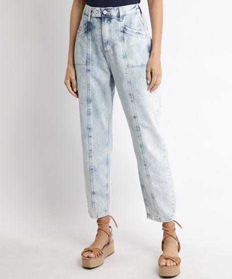 Calca-Jeans-Feminina-Cintura-Super-Alta-Clochard-com-Recorte-e-Bolsos-Azul-Claro-9966367-Azul_Claro_1