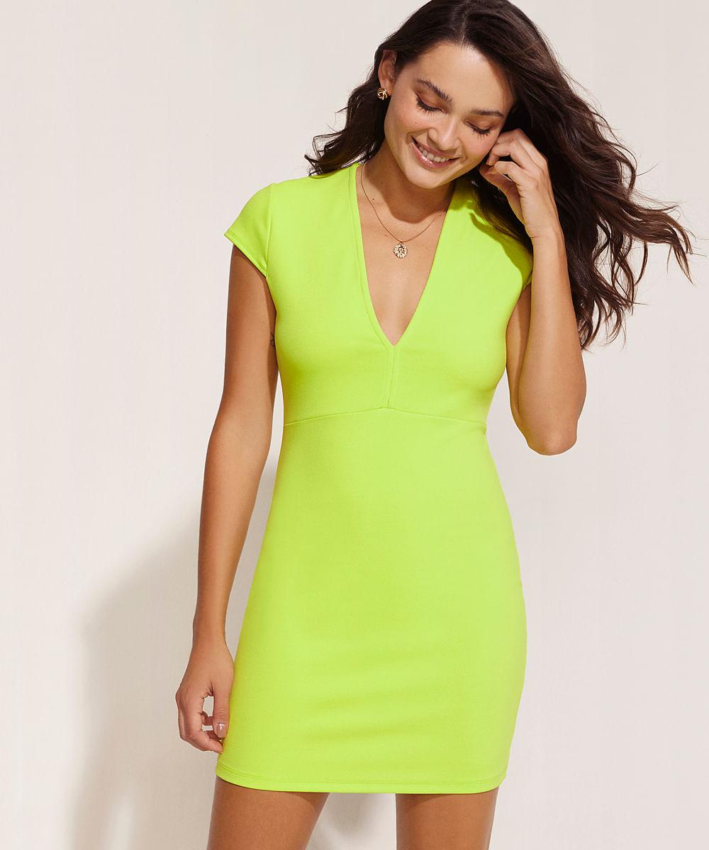 Vestido Feminino Curto com Recortes Manga Curta Verde Neon