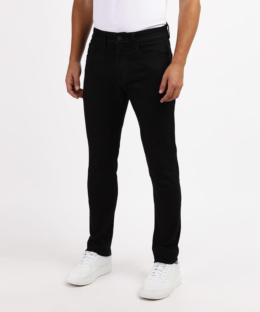 Calça Masculina Slim com Bolsos Preta