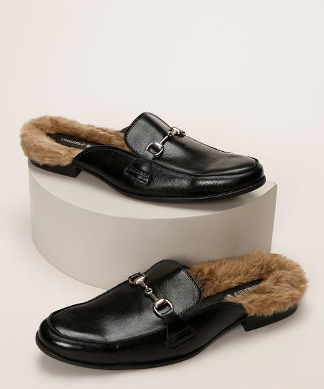 Sapato-Mule-Masculino-Oneself-com-Pelo-Preto-9960988-Preto_1