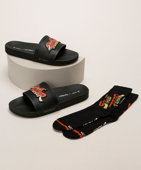 Kit-Infantil-Rider-Street-Fighter-Chinelo-Slide---Meia-Preto-9961279-Preto_1
