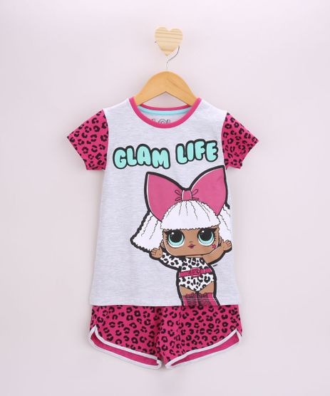 Pijama-Infantil-LOL-Surprise-Diva-Manga-Curta-Cinza-Mescla-Claro-9956705-Cinza_Mescla_Claro_1