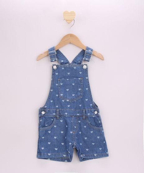 Jardineira-Jeans-Infantil-Estampado-de-Coracoes-com-Bolsos-Azul-Medio-9957882-Azul_Medio_1