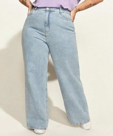 Calca-Jeans-Feminina-Plus-Size-Mindset-Obvious-Wide-Reta-Cintura-Super-Alta-com-Bordado--Self-Love--Azul-Claro-9974752-Azul_Claro_1