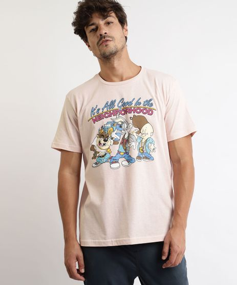 Camiseta-Masculina-Looney-Tunes-Manga-Curta-Gola-Careca-Rosa-9966303-Rosa_1
