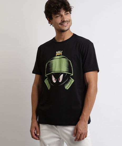 Camiseta-Masculina-Marvin-Looney-Tunes-Manga-Curta-Gola-Careca-Preta-9968142-Preto_1