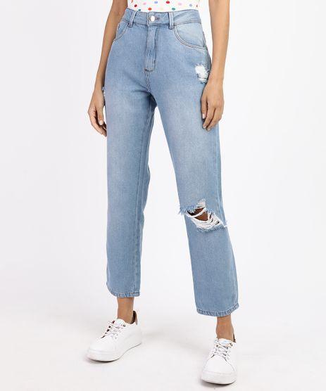 Calca-Jeans-Feminina-Boyfriend-Cintura-Media-Destroyed-Azul-Claro-9964529-Azul_Claro_1