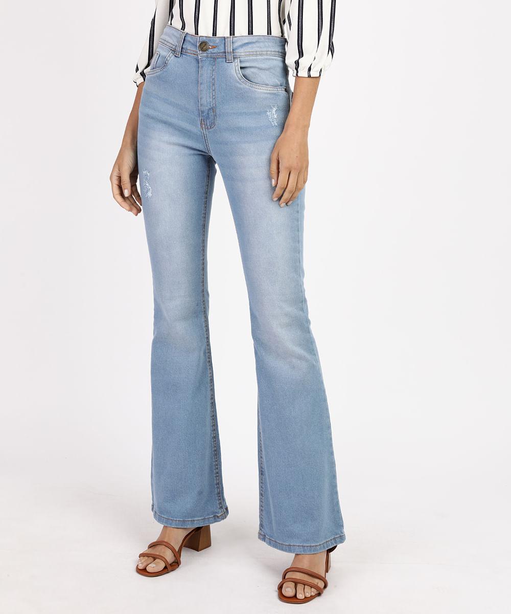 Calça Jeans Feminina Flare Cintura Alta com Puídos Azul Claro