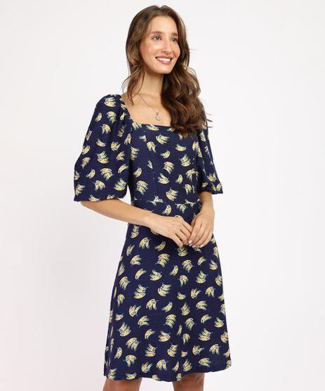 Vestido-Feminino-Curto-Estampado-de-Banana-Manga-Bufante-Azul-Marinho-9960242-Azul_Marinho_1